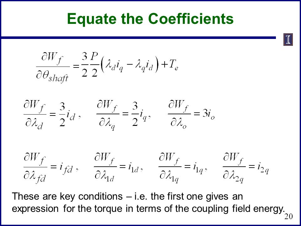 Equate the Coefficients
