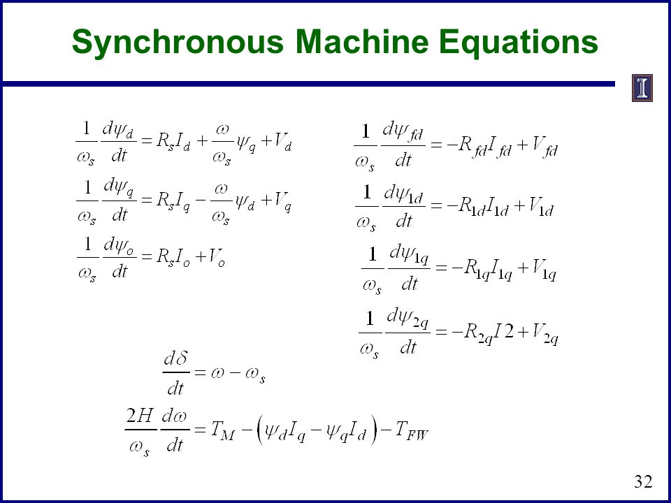 Synchronous Machine Equations