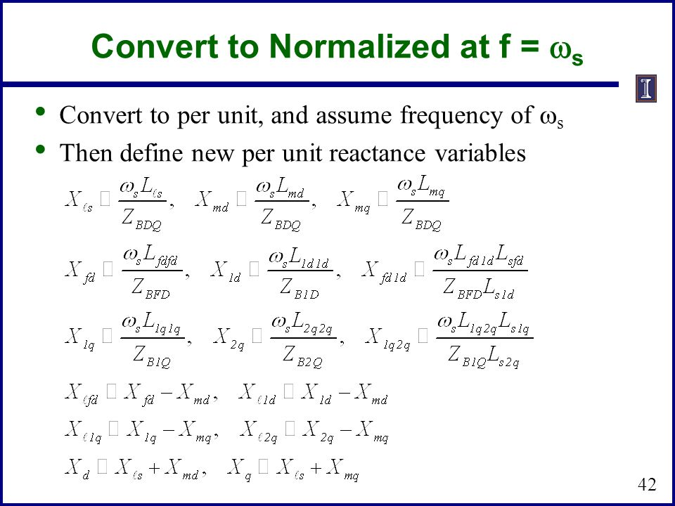 Convert to Normalized at f = ws