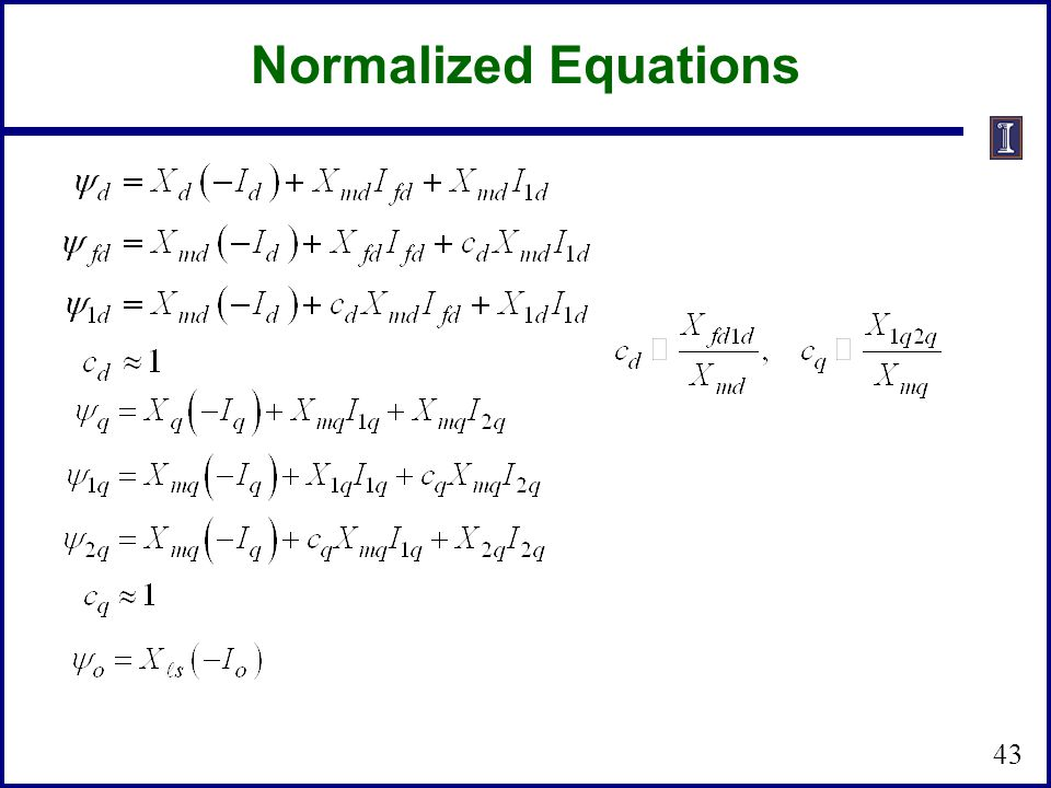 Normalized Equations