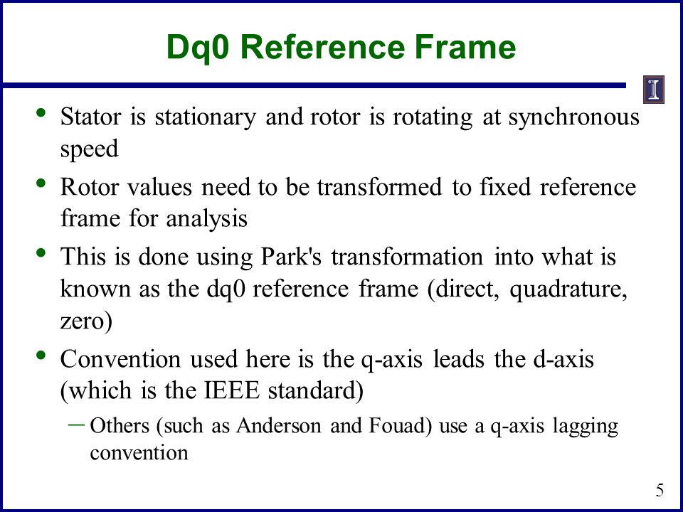 Dq0 Reference Frame Stator is stationary and rotor is rotating at synchronous speed.