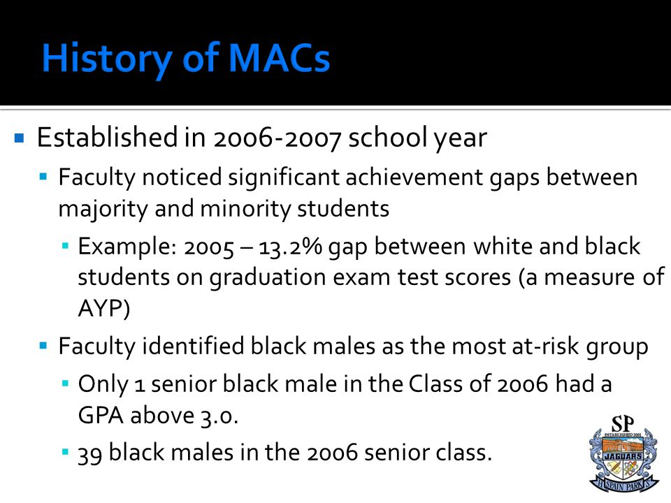 History of MACs Established in 2006-2007 school year