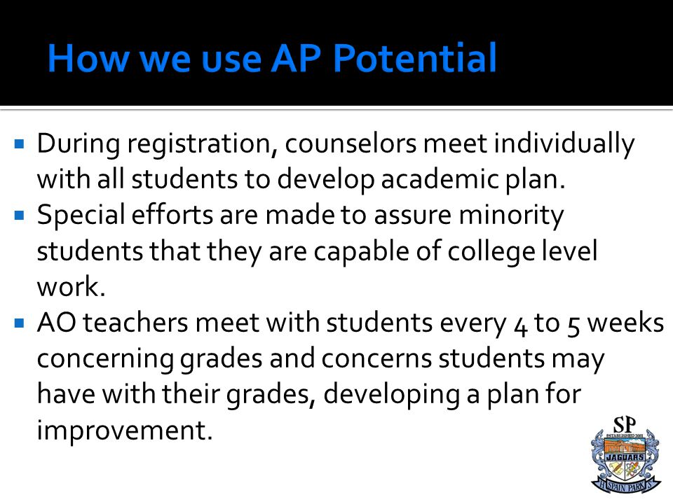How we use AP Potential During registration, counselors meet individually with all students to develop academic plan.
