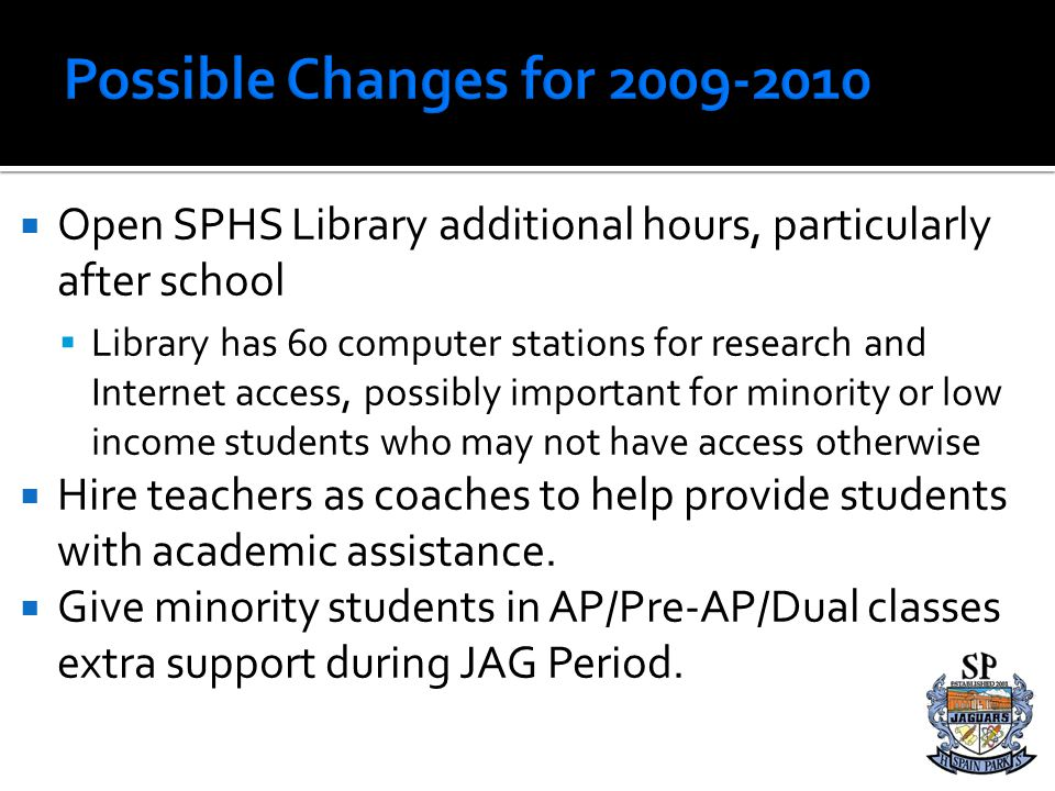Possible Changes for 2009-2010 Open SPHS Library additional hours, particularly after school.
