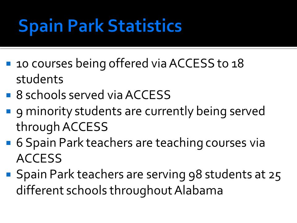 Spain Park Statistics 10 courses being offered via ACCESS to 18 students. 8 schools served via ACCESS.