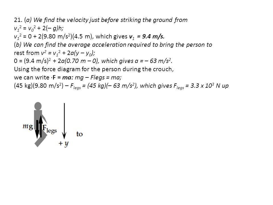 21. (a) We find the velocity just before striking the ground from
