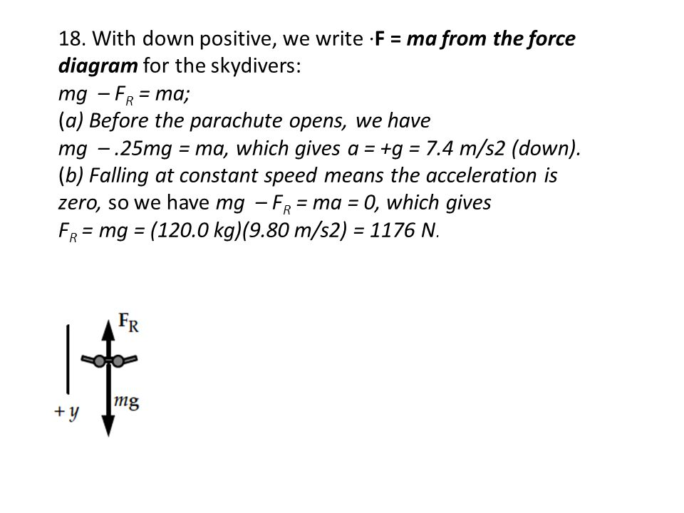 18. With down positive, we write ·F = ma from the force diagram for the skydivers: