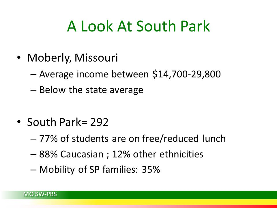 A Look At South Park Moberly, Missouri South Park= 292