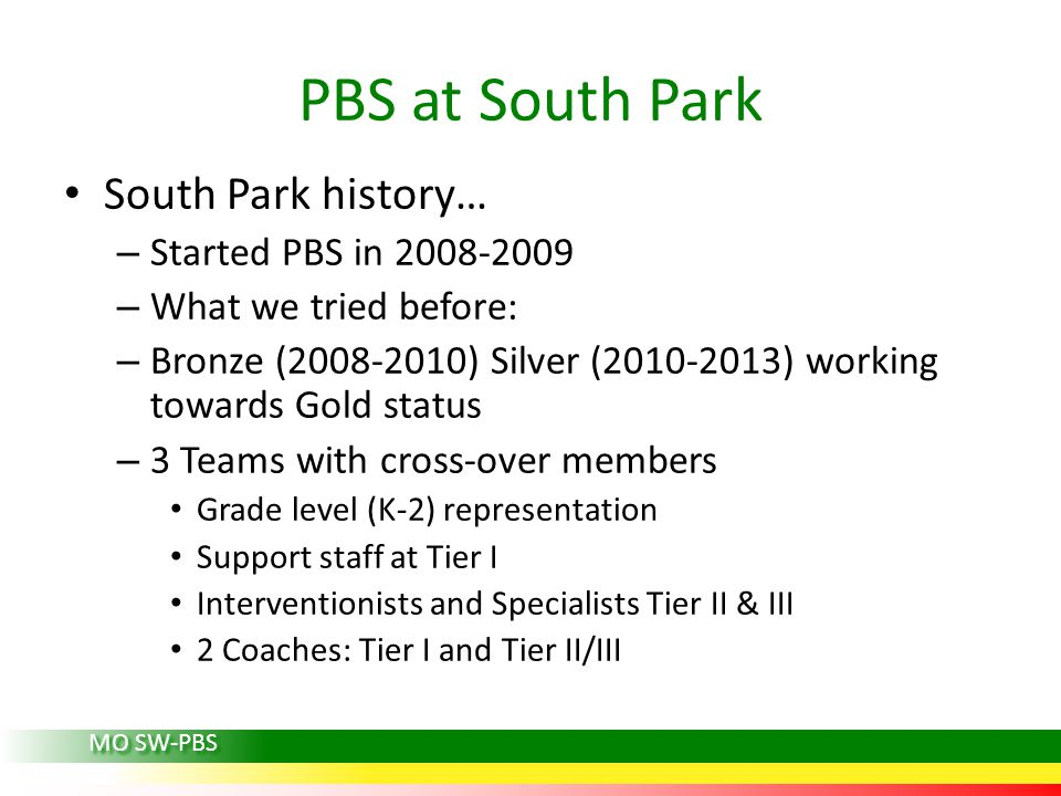 PBS at South Park South Park history… Started PBS in 2008-2009