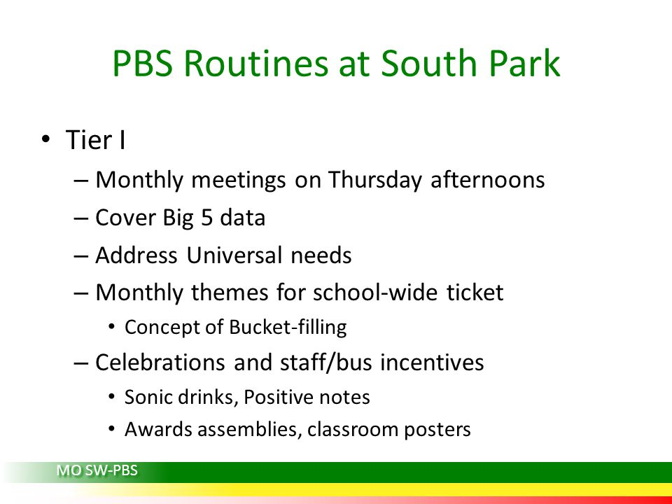 PBS Routines at South Park