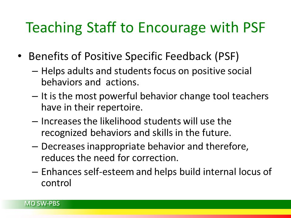 Teaching Staff to Encourage with PSF