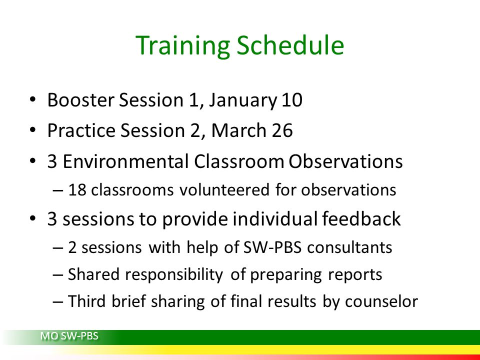 Training Schedule Booster Session 1, January 10