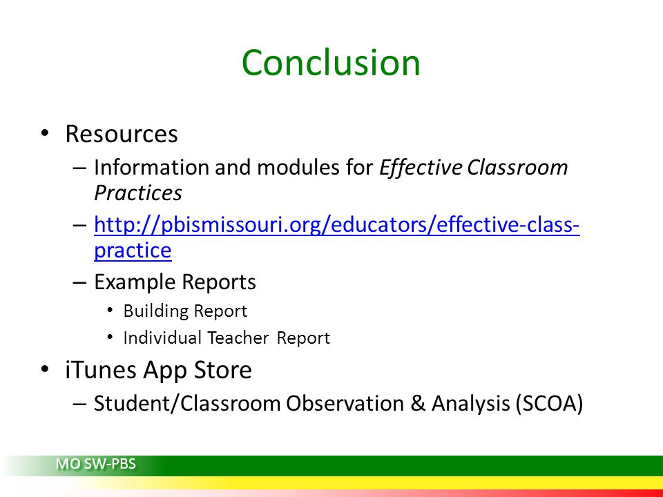Conclusion Resources iTunes App Store