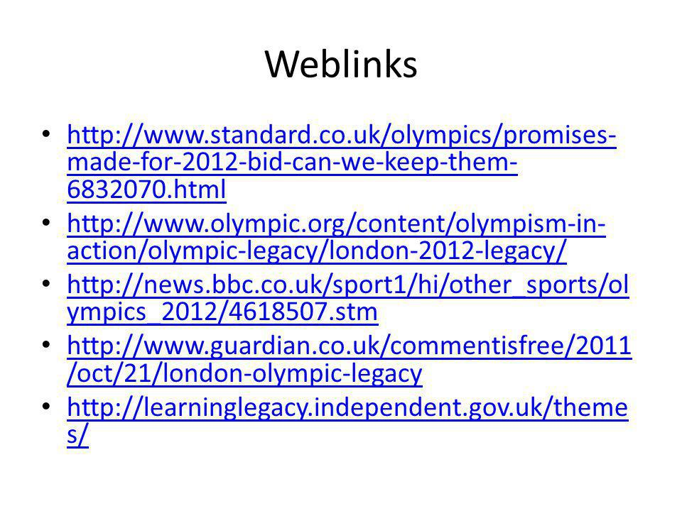 Weblinks http://www.standard.co.uk/olympics/promises-made-for-2012-bid-can-we-keep-them-6832070.html.