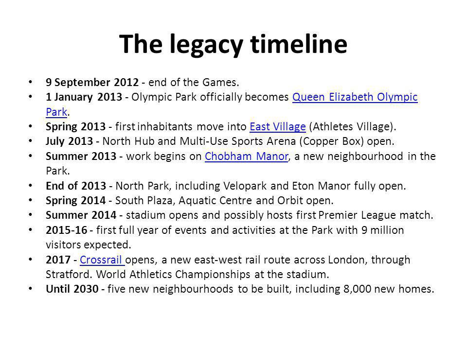 The legacy timeline 9 September end of the Games.