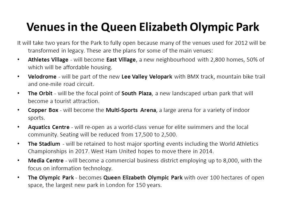 Venues in the Queen Elizabeth Olympic Park