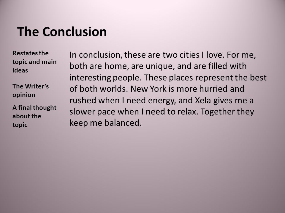 The Conclusion Restates the topic and main ideas.