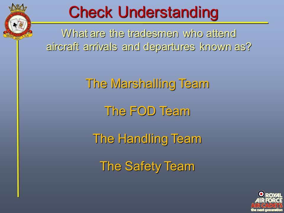 Check Understanding The Marshalling Team The FOD Team