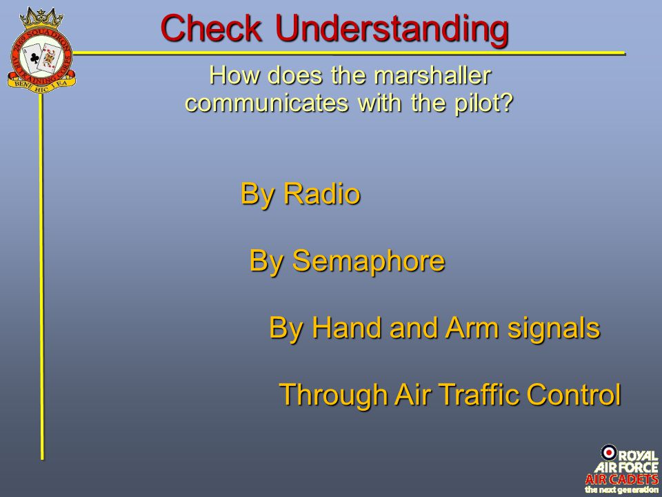 Check Understanding By Radio By Semaphore By Hand and Arm signals