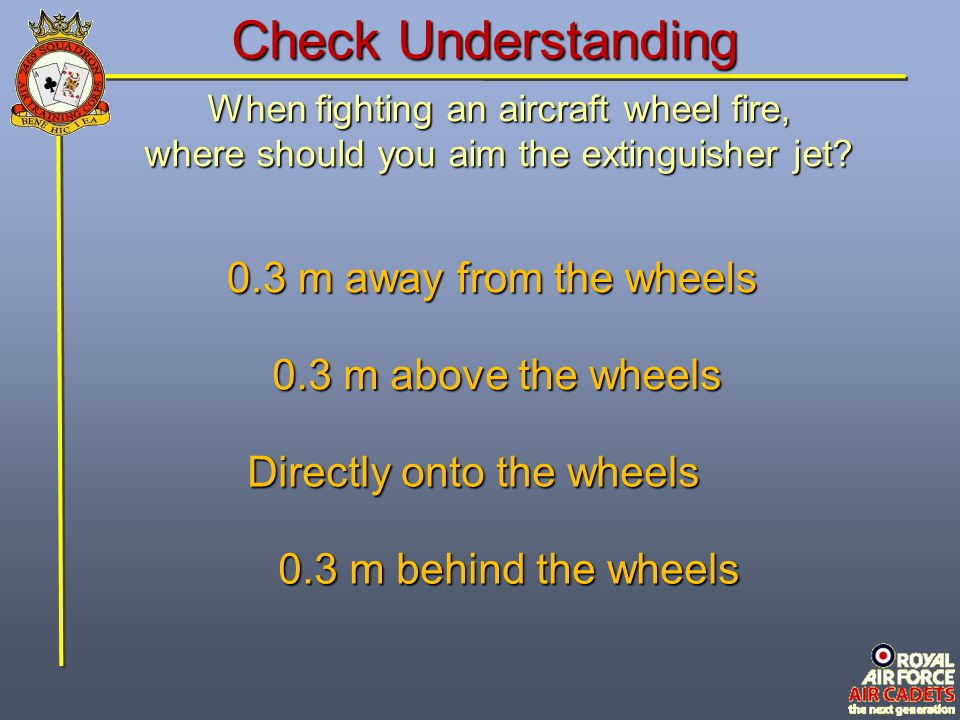 Check Understanding 0.3 m away from the wheels 0.3 m above the wheels