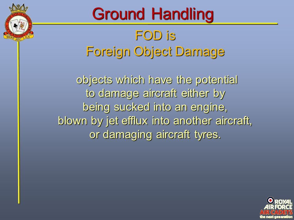 Ground Handling FOD is Foreign Object Damage