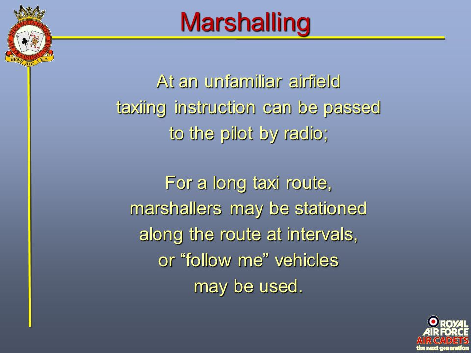 Marshalling At an unfamiliar airfield