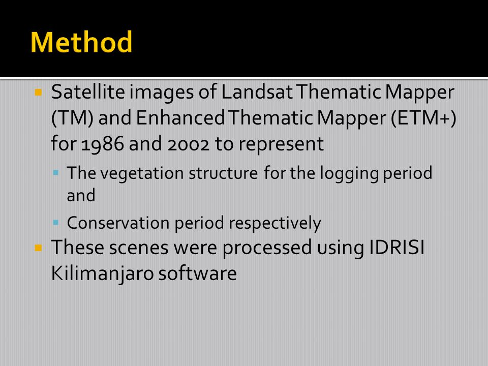 Method Satellite images of Landsat Thematic Mapper (TM) and Enhanced Thematic Mapper (ETM+) for 1986 and 2002 to represent.