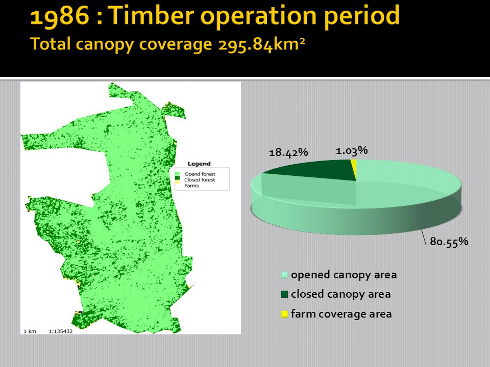 1986 : Timber operation period Total canopy coverage 295.84km2