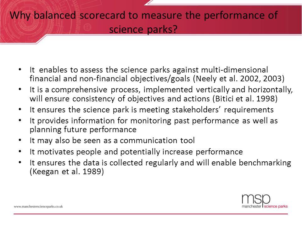 Why balanced scorecard to measure the performance of science parks