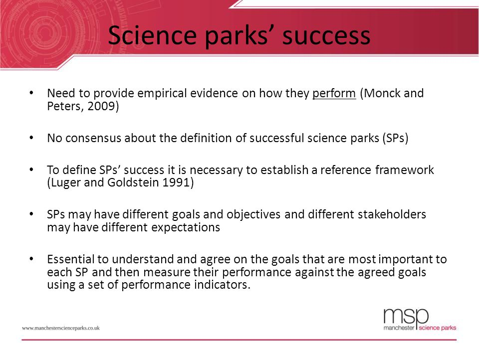 Science parks' success