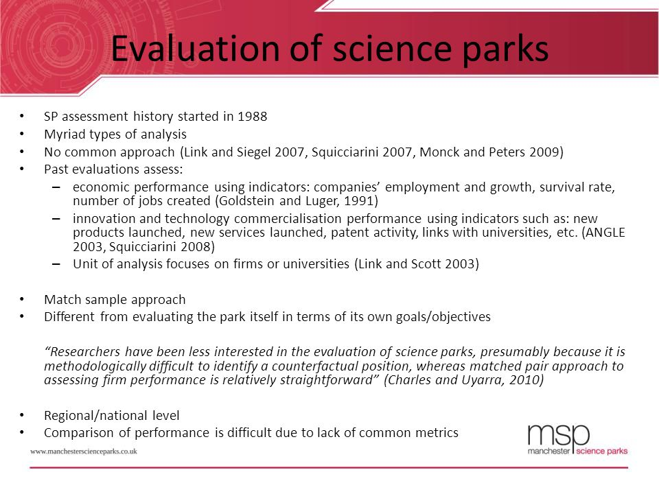 Evaluation of science parks