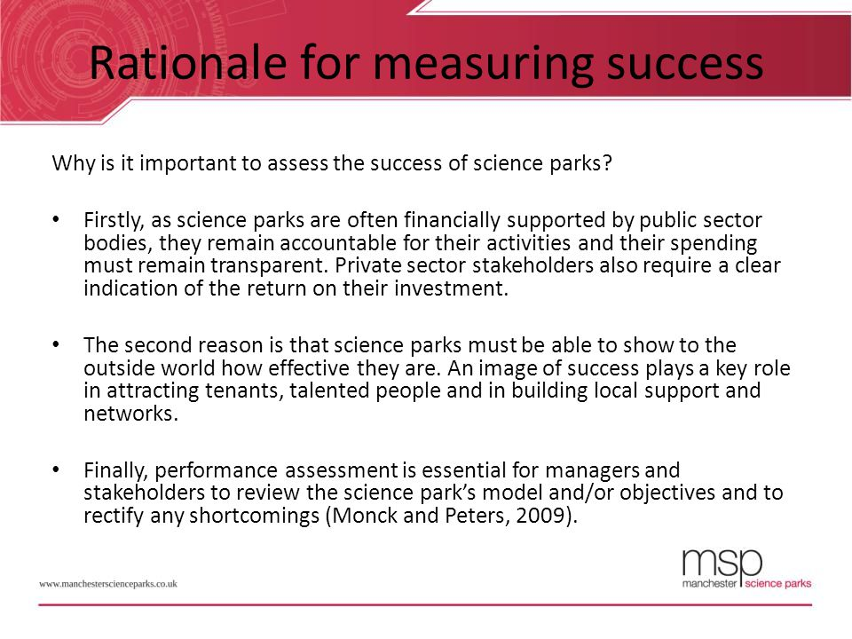 Rationale for measuring success