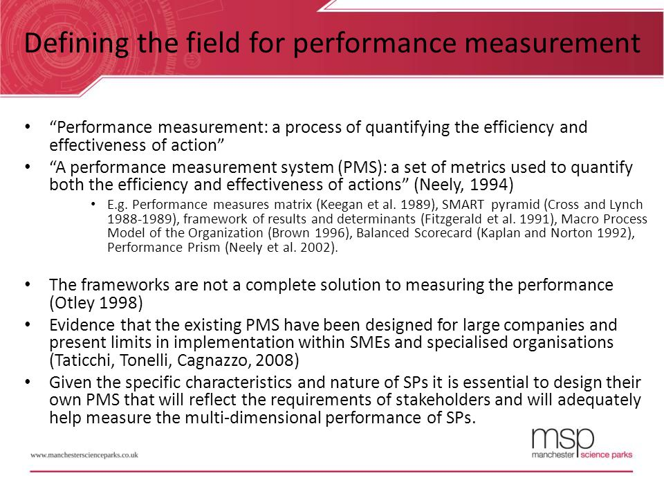 Defining the field for performance measurement