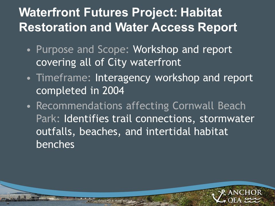 Waterfront Futures Project: Habitat Restoration and Water Access Report