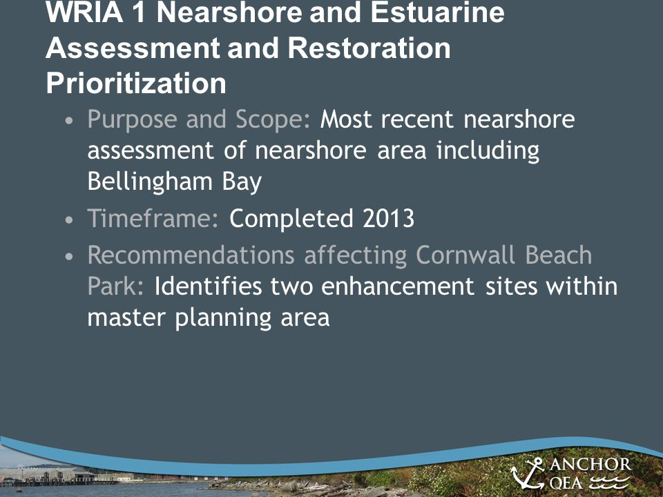 WRIA 1 Nearshore and Estuarine Assessment and Restoration Prioritization