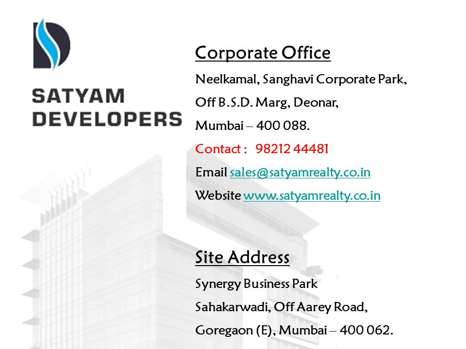Corporate Office Site Address Neelkamal, Sanghavi Corporate Park,