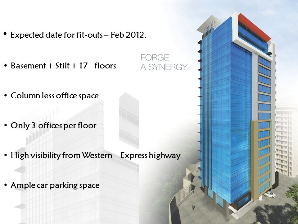 Expected date for fit-outs – Feb 2012.