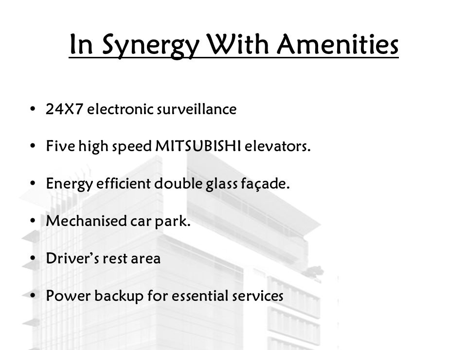 In Synergy With Amenities