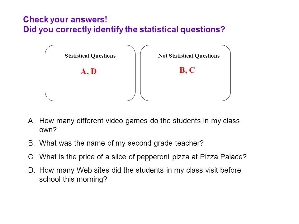 Check your answers! Did you correctly identify the statistical questions