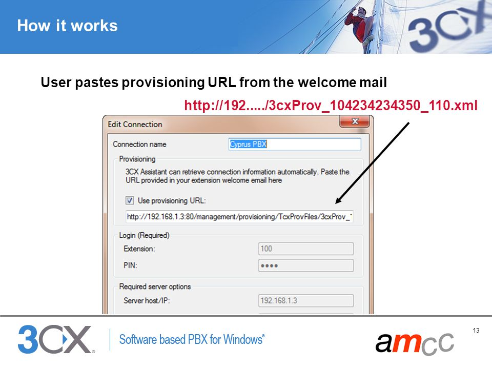 How it works User pastes provisioning URL from the welcome mail