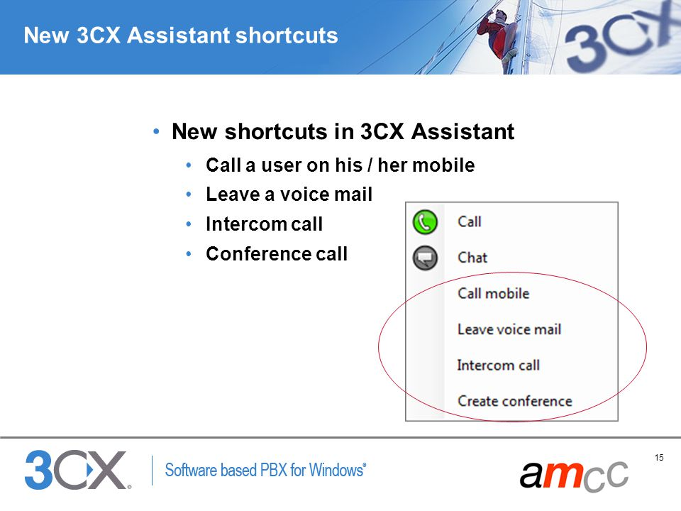 New 3CX Assistant shortcuts
