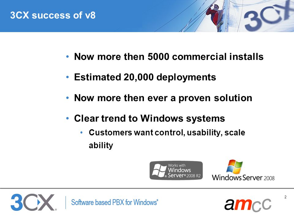 Now more then 5000 commercial installs Estimated 20,000 deployments