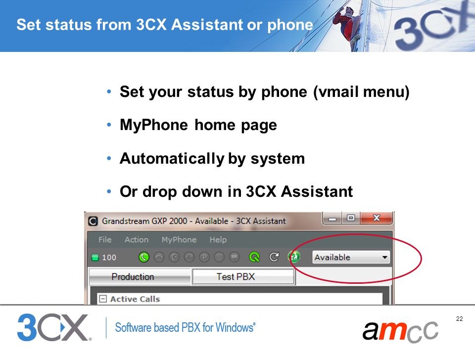 Set status from 3CX Assistant or phone