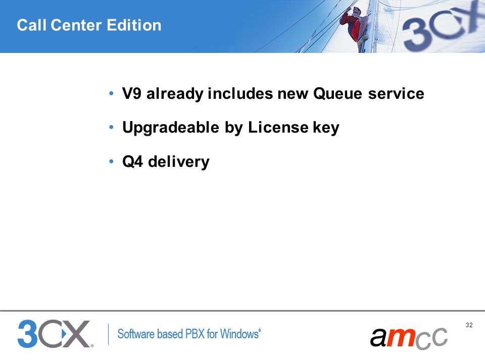 Call Center Edition V9 already includes new Queue service Upgradeable by License key Q4 delivery