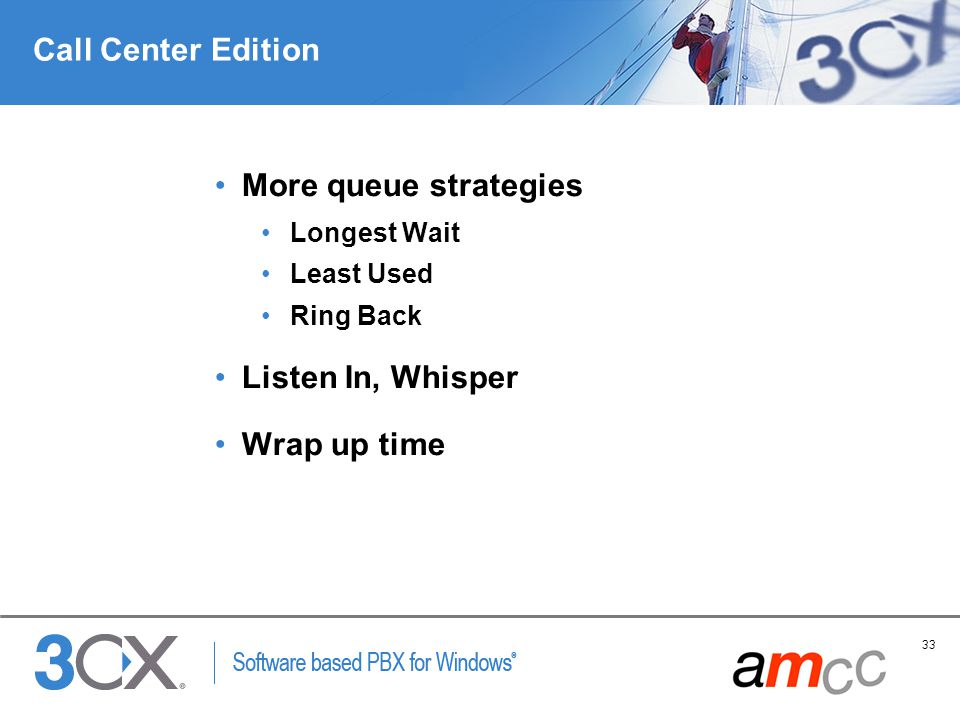 Call Center Edition More queue strategies Listen In, Whisper
