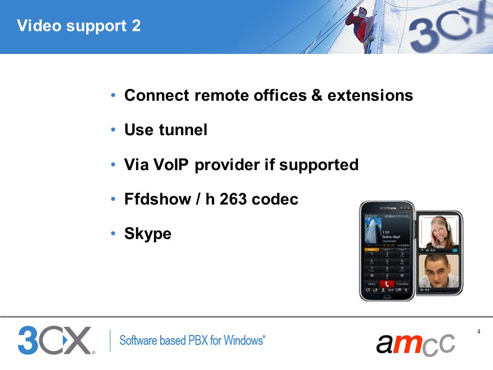Video support 2 Connect remote offices & extensions. Use tunnel. Via VoIP provider if supported. Ffdshow / h 263 codec.