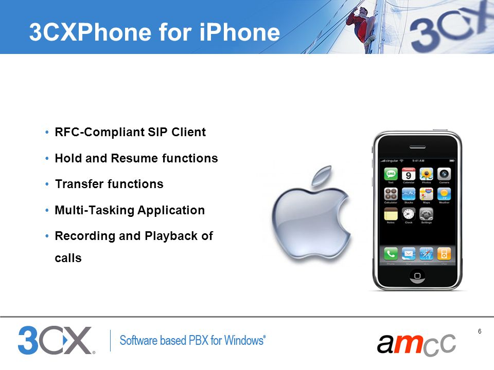 3CXPhone for iPhone RFC-Compliant SIP Client Hold and Resume functions