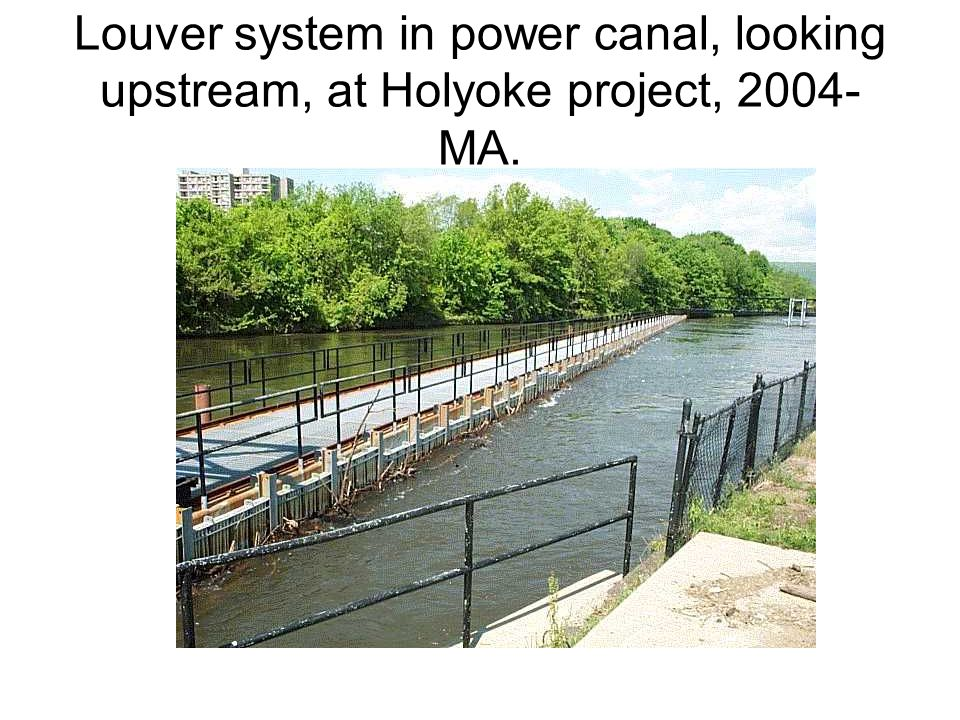 Louver system in power canal, looking upstream, at Holyoke project, 2004-MA.