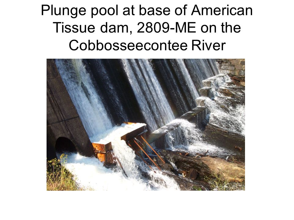 Plunge pool at base of American Tissue dam, 2809-ME on the Cobbosseecontee River
