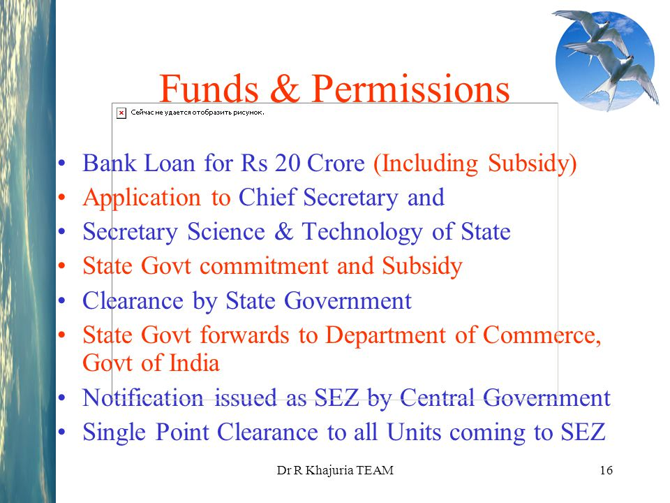 Funds & Permissions Bank Loan for Rs 20 Crore (Including Subsidy)